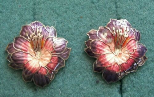 Pink and Purple Flower Pierced Earrings - Costume Jewelry - Vintage