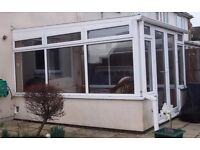 White double glazed PVC Conservatory, complete, 3.5m x 2.9m, very good condition, free to good home