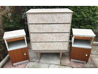 Vintage Beige Marble Effect Formica Chest of Drawers and Bedside Cabinets, Drawers