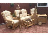 FULL SET OF QUALITY CANE CONSERVATORY FURNITURE - 8 ITEMS - REDUCED