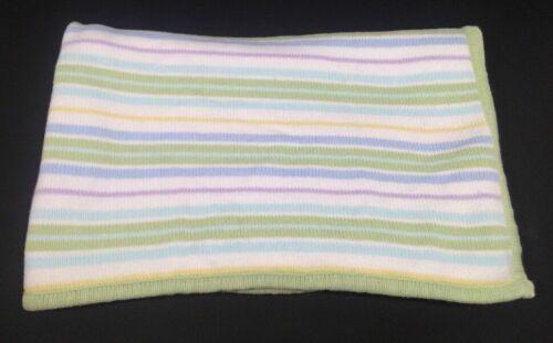 Circo Green Blue Purple White Yellow Stripe Sweater Knit Baby Blanket Security