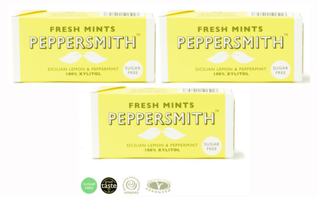 Pack of 3 Peppersmith Sugar Free Fresh Mint Sicilian Lemon and Peppermint 15g