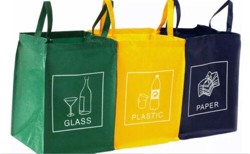 3er Set Recycling Mülltrennsystem Glas Plastik Papier Mülleimer Mülltrenner