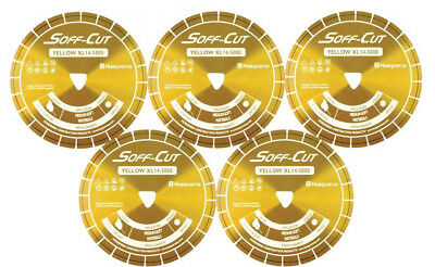 Husqvarna Excel 5000 5.5 Yellow Soff Cut Ultra Early Entry Diamond Blade 5pk
