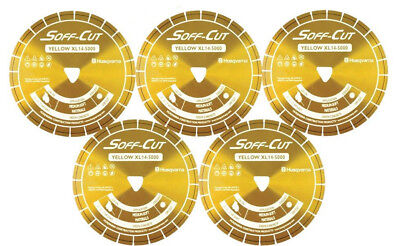 Husqvarna Excel 5000 5 Yellow Soff Cut Ultra Early Entry Diamond Blade 5pk