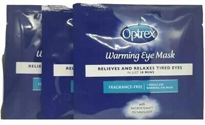 3x Optrex Warming Eye Mask Relieves & Relax Tired Eyes Fragrance Free SEALED