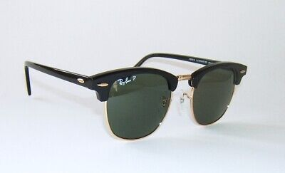 RAY BAN RB 3016 901/58 CLUBMASTER BLACK GOLD POLARIZED SUNGLASSES 49 mm (Ray Ban Clubmaster Small)