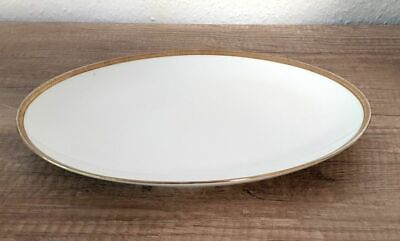Ovale Porzellan Servierplatte mit Goldrand