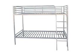 Brandon Single Metal Bunk Bed Frame - Silver