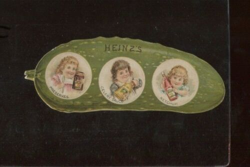 Heinz Pickle Die Cut Trade Card - Inventory #11 - SCARCE THREE INSET PHOTO VAR.