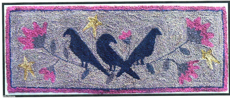 Three Old Crows Punchneedle Embroidery Pattern Punch Needle