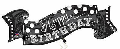 Amscan 3093101 Folienballon, Happy Birthday Banner Schwarz ()