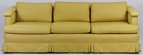 KITTINGER Mid Century Modern Mahogany Upholstered Sofa Gold Fabric with Skirting