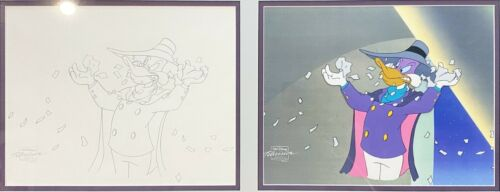 Original Walt Disney Animation Art Production Cel and Drawing from Darkwing Duck