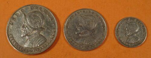 1961 PANAMA SILVER set of 3 COINS - 1/10 BALBOA, 1/4 BALBOA, & 1/2 BALBOA