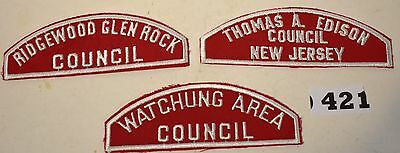 Council Shoulder Patch RED & White Lot of 3 MINT 1960's Councils #421