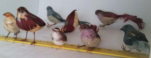 Lot of 8 Vintage Real Feather Bird Ornaments Nice Assortment over 30 Years Old