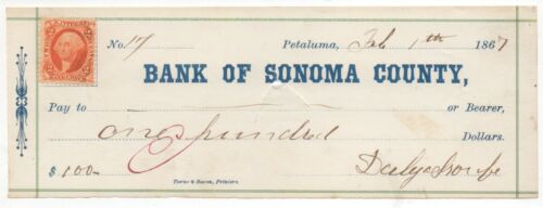 1867 Check from the Bank of Sonoma County Petaluma CA with Revenue Stamp
