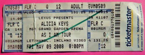 ALICIA KEYS AS I AM TOUR ORIGINAL USED CONCERT TICKET MGM GRAND LAS VEGAS 2008