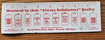 "Old Blotter ""David Stott Flour Mills-Detroit, Michigan""  6-Inch Ruler"