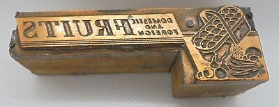 Vintage Printing Letterpress Printers Block Domestic Foreign Fruits