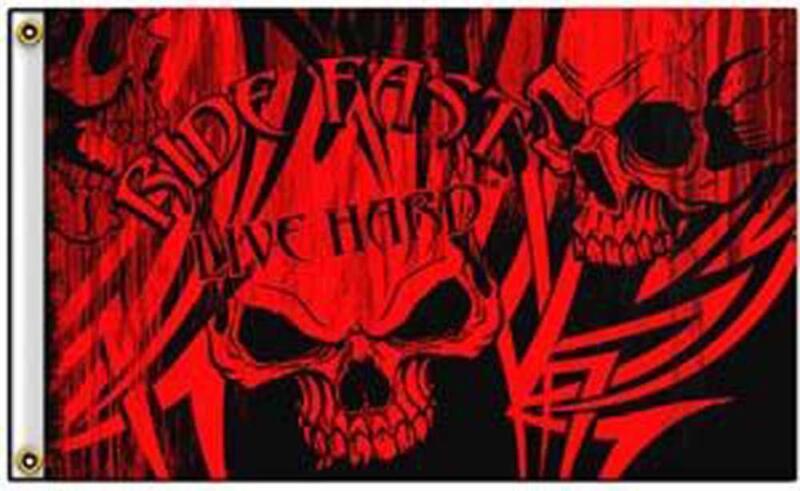 RIDE HARD RED SKULLS  3 X 5 MOTORCYCLE DELUXE BIKER FLAG #444 SKELETONS BANNERS