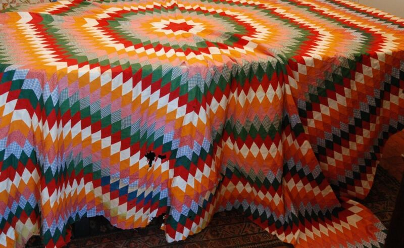 OVERSIZED STAR ANTIQUE QUILT TOP ~ HAND-PIECED ~ 19th C