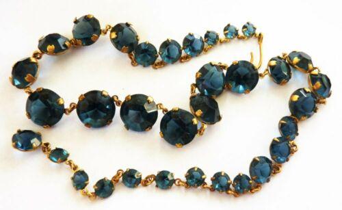 1930s Art Deco blue sapphire glass paste Riviere necklace choker