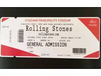 Rolling Stones ticket x 1 General Admission Cardiff Friday 15th June 2018 Principality Stadium