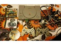 Original Sony PS1 Console 2 Pads 4 Games Fully Working