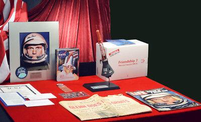 Signed Astronaut JOHN GLENN Autograph & MERCURY 7 MODEL, DVD LIFE, Newspaper COA
