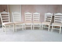 Set of 6 cream painted ladder backed chairs