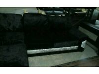 A ex display black x silver velvet corner group sofa.