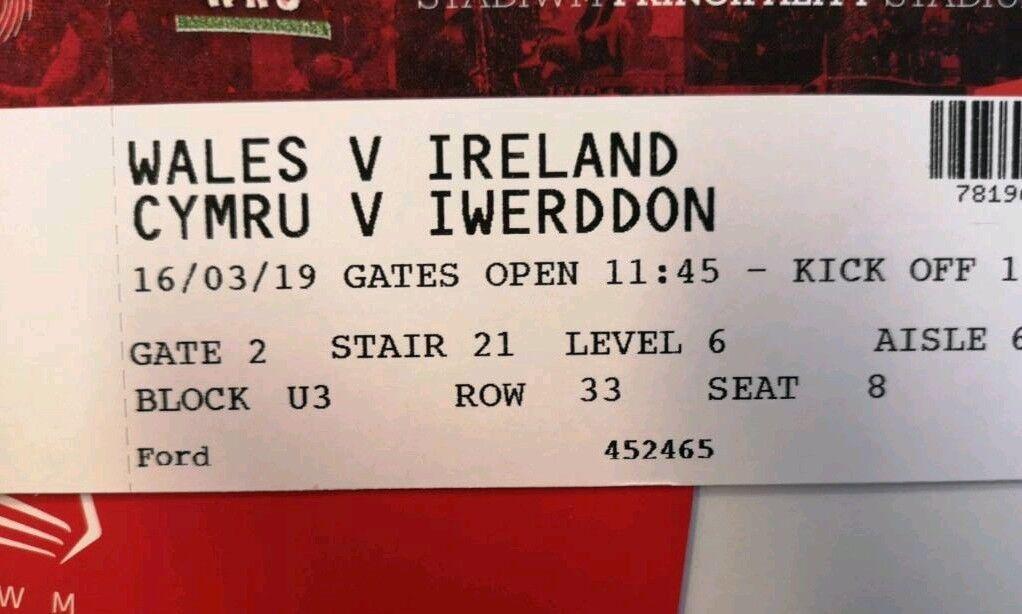 Wales vs Ireland 6 Nations Tickets   in Liverpool Street, London   Gumtree