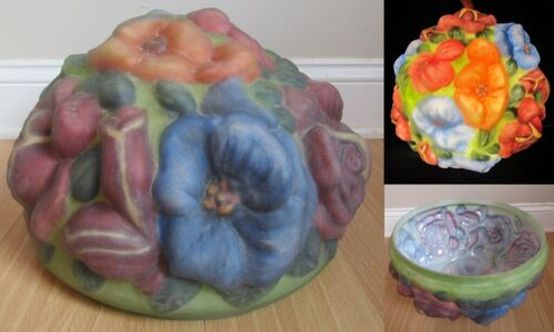 "PAIRPOINT lamp shade antique puffy REVERSE HAND PAINTED 12"" FITTER flowers RARE!"