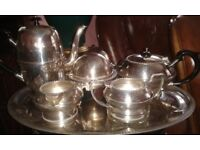 Silver plated 6 piece tea and coffee set with tray