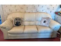 Cream Leather 3-piece Sofas & chairs