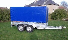 New car trailer twin axle with brakes and cover 10 x 5 2700 kg certificate for left-hand traffic