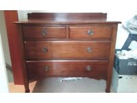 Antique Edwardian Mahogany Chest of drawers on castors