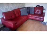 DFS RED LEATHER CORNER SOFA & RECLINER ARM CHAIR