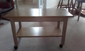 Oak coffee table on castors