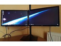 "2 x ASUS 22"" Full HD LED Monitors,DVi,VGA,1080p With Stand, Extended/Dual Displays,CCTV,Gaming"