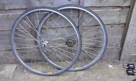 pair 700c bike wheel MA2 rims miche hubs 7 speed