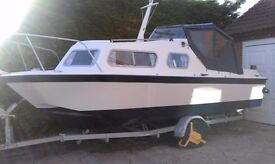 """Microplus 561 Inshore/Inland Cruiser (L 17ft 6"""" W 7ft) c/w new Honda Outboard. Fully refitted."""