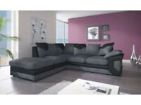 UK EXPRESS DELIVERY | DINO BLK/GREY 3+2 SEATER SOFA OR CORNER WITH FOOTSTOOL SOFA