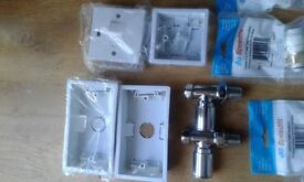 Mixed lot of plumbing,electric and toilet door locks.see photos