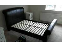Genuine leather double bed