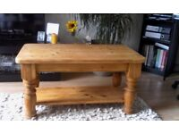 Traditional Chunky Stripped Pine Coffee Table.