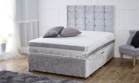 CHOICE OF COLORS *** DOUBLE CRUSHED VELVET DIVAN BED BASE WITH DEEP QUILTED MATTRESS
