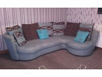 Lovely corner sofa teal and browns + cuddle chair that swivels and reclines and turns